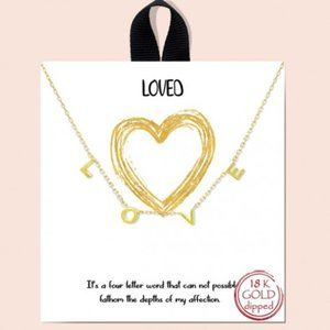Jewelry - New L O V E Handmade18k Gold Dipped necklace